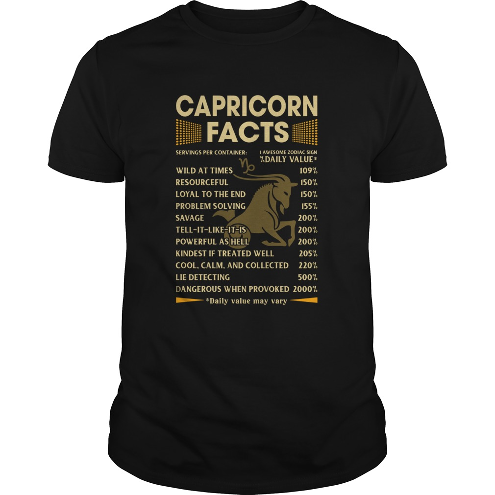 Capricorn Facts Serving per container Daily Value shirt Classic Men's