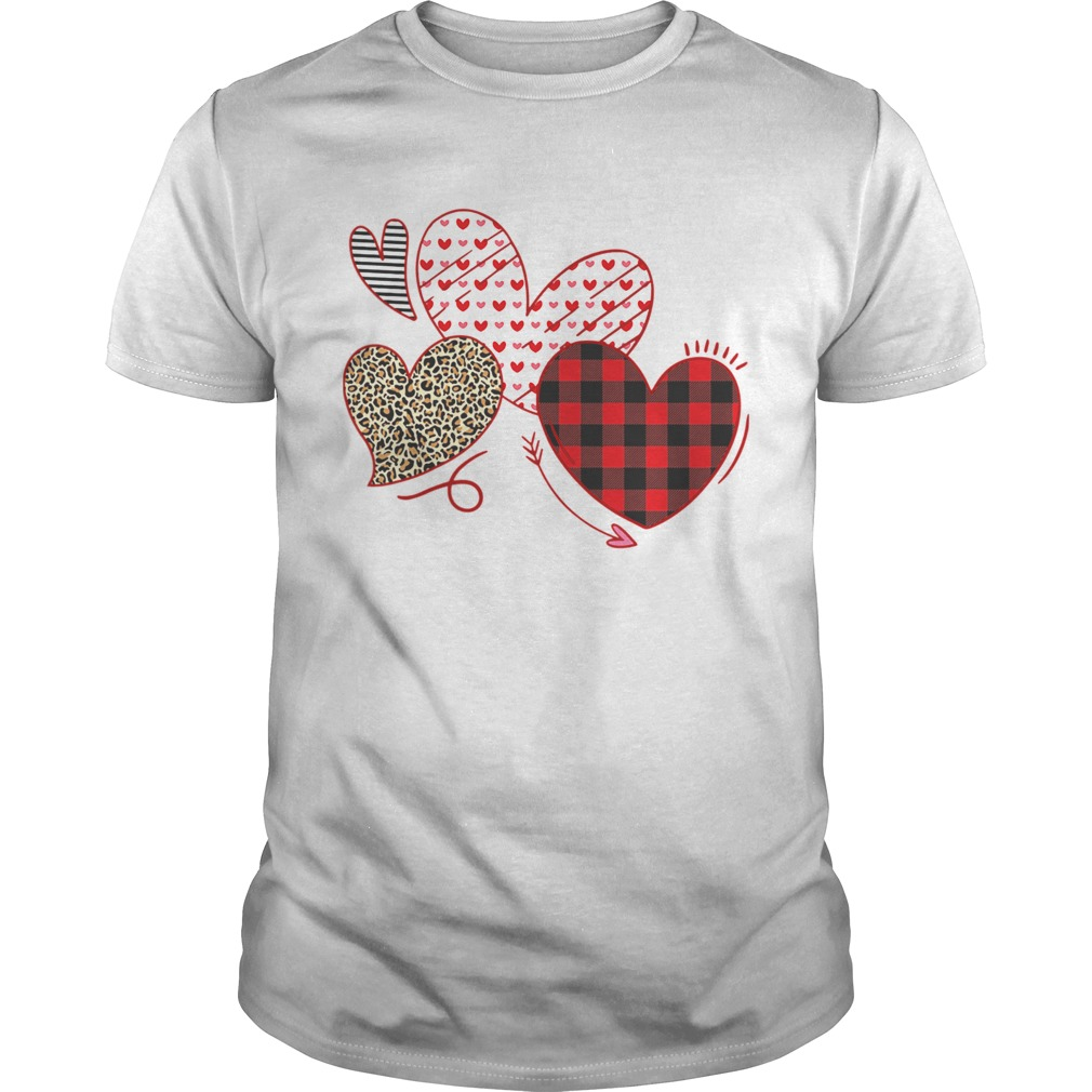 Hearts And Arrows Leopard Plaid Valentines Day shirt Classic Men's