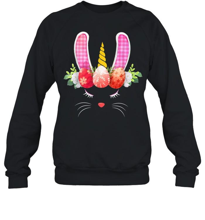Unicorn Face Bunny Eggs Hunting Happy Easters Girl shirt Unisex Sweatshirt