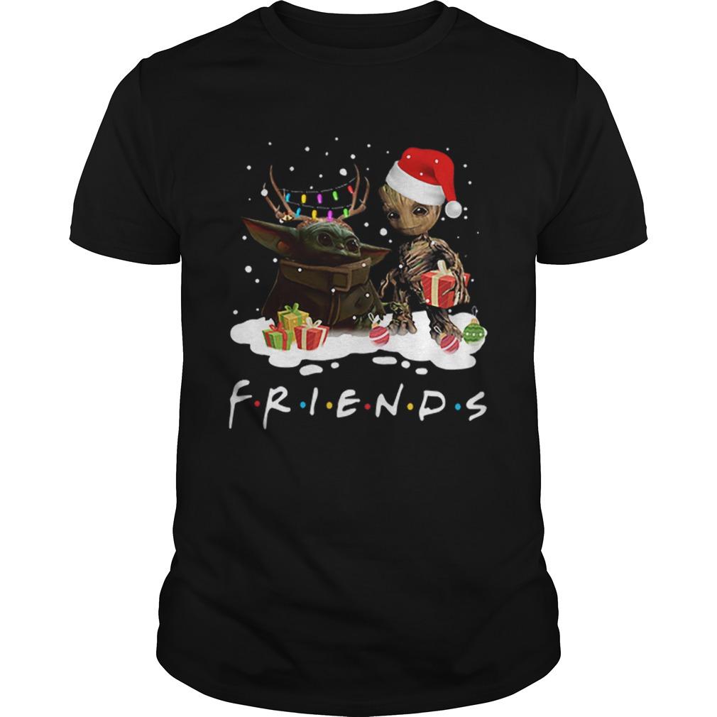 Santa baby Yoda and baby Groot Reindeer light christmas shirt Classic Men's