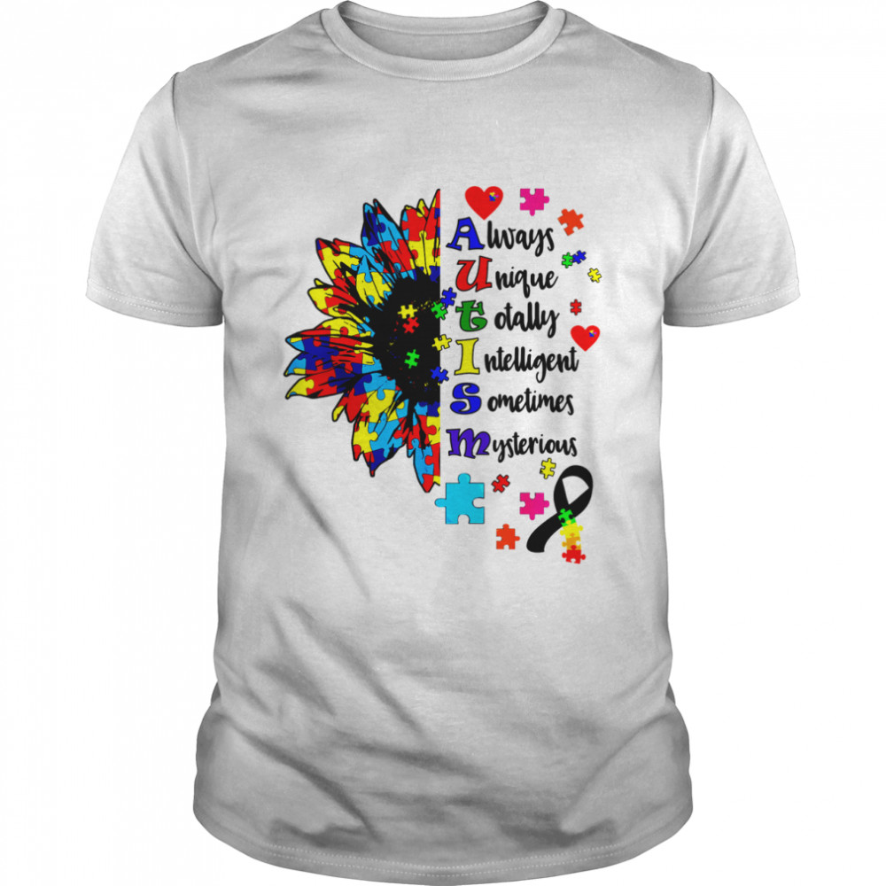 Autism Awareness Typography Sunflower Blue Puzzle Month shirt Classic Men's T-shirt