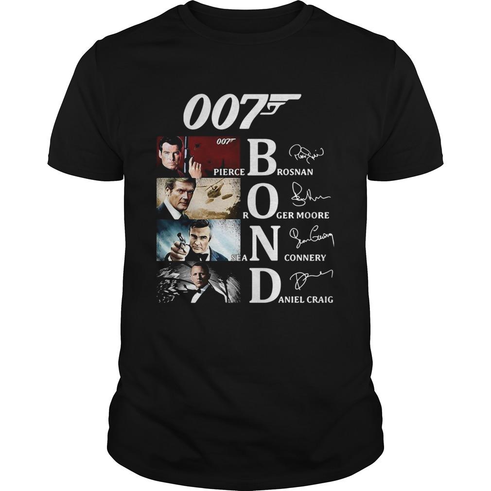 007 Pierce Brosnan Roger Moore Sean Connery Daniel Craig Signatures shirt Classic Men's