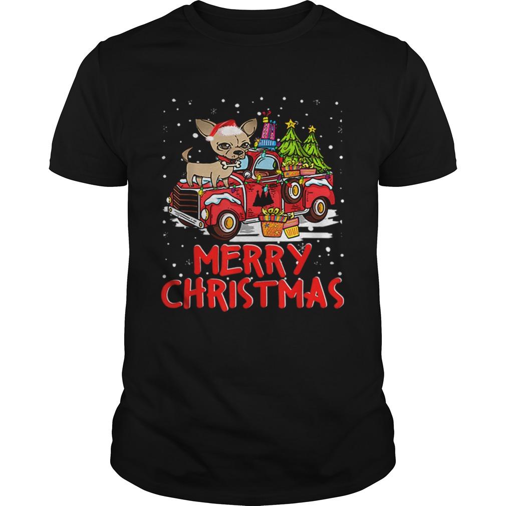 Chihuahua Rides Red Truck Merry Christmas Pajama shirt Classic Men's