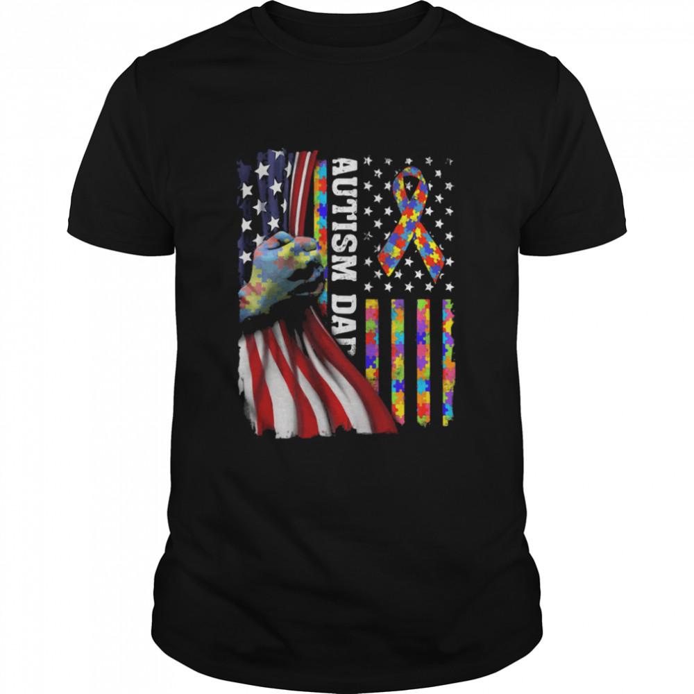 Autism American Flag  Classic Men's T-shirt