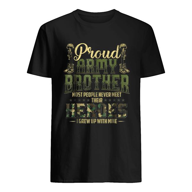 Proud Army Brother Shirt Patriotic Military Veteran shirt Classic Men's