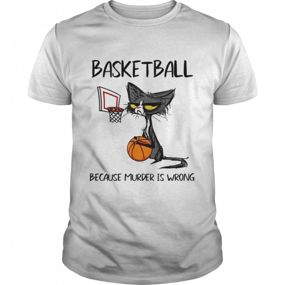 Black Cat Basketball Because Murder Is Wrong  Classic Men's T-shirt