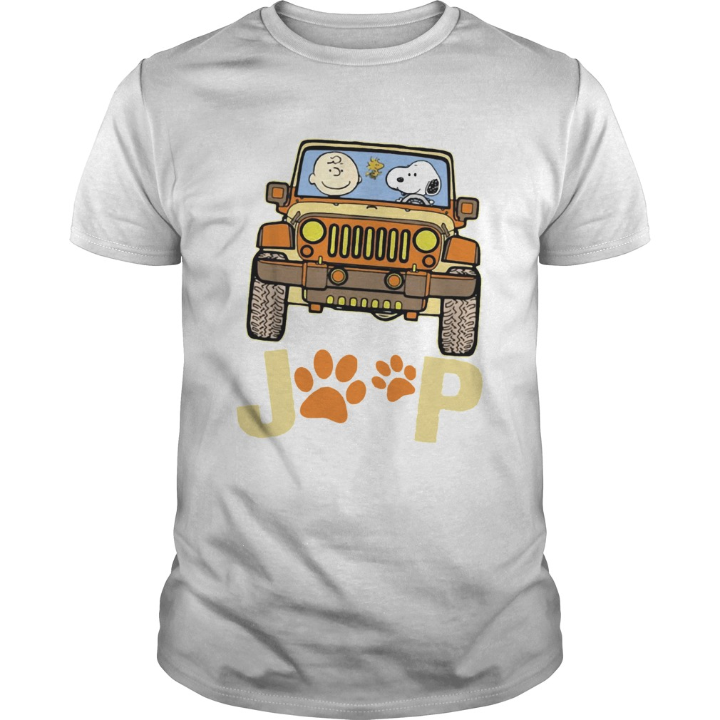 Charlie Brown and Snoopy Jeep paw dog shirt Classic Men's