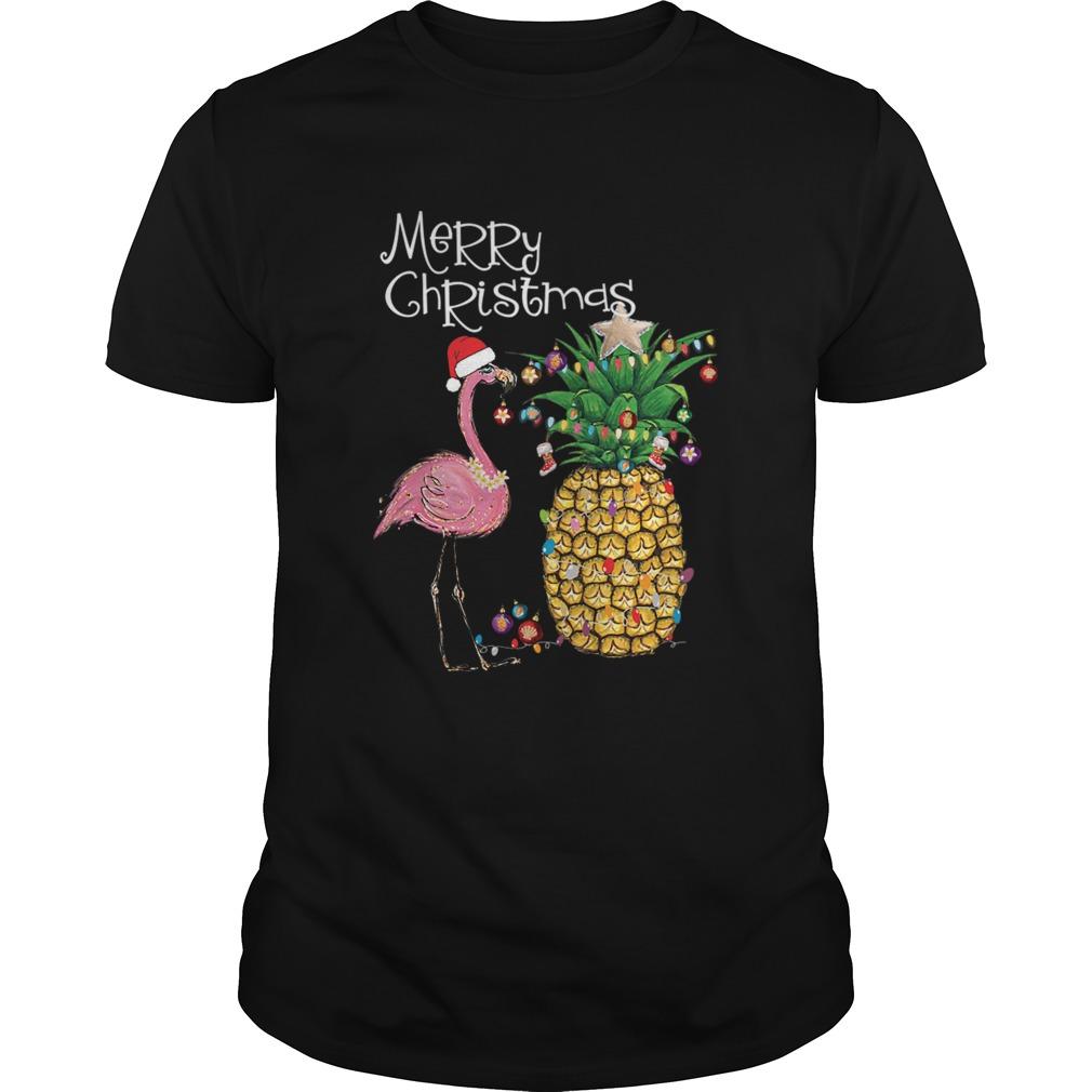Merry Christmas Pink Flamingo Christmas shirt Classic Men's