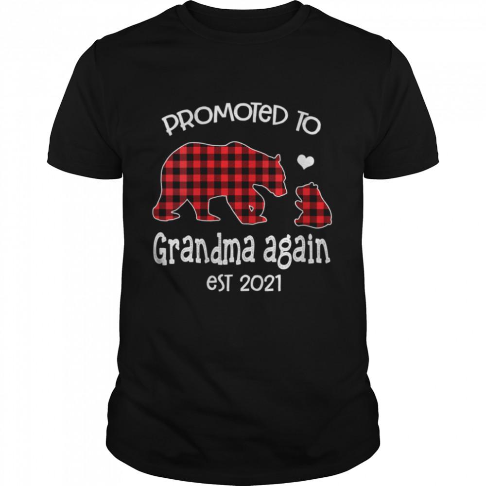 Promoted To Grandma Bear again Red Plaid est 2021 shirt