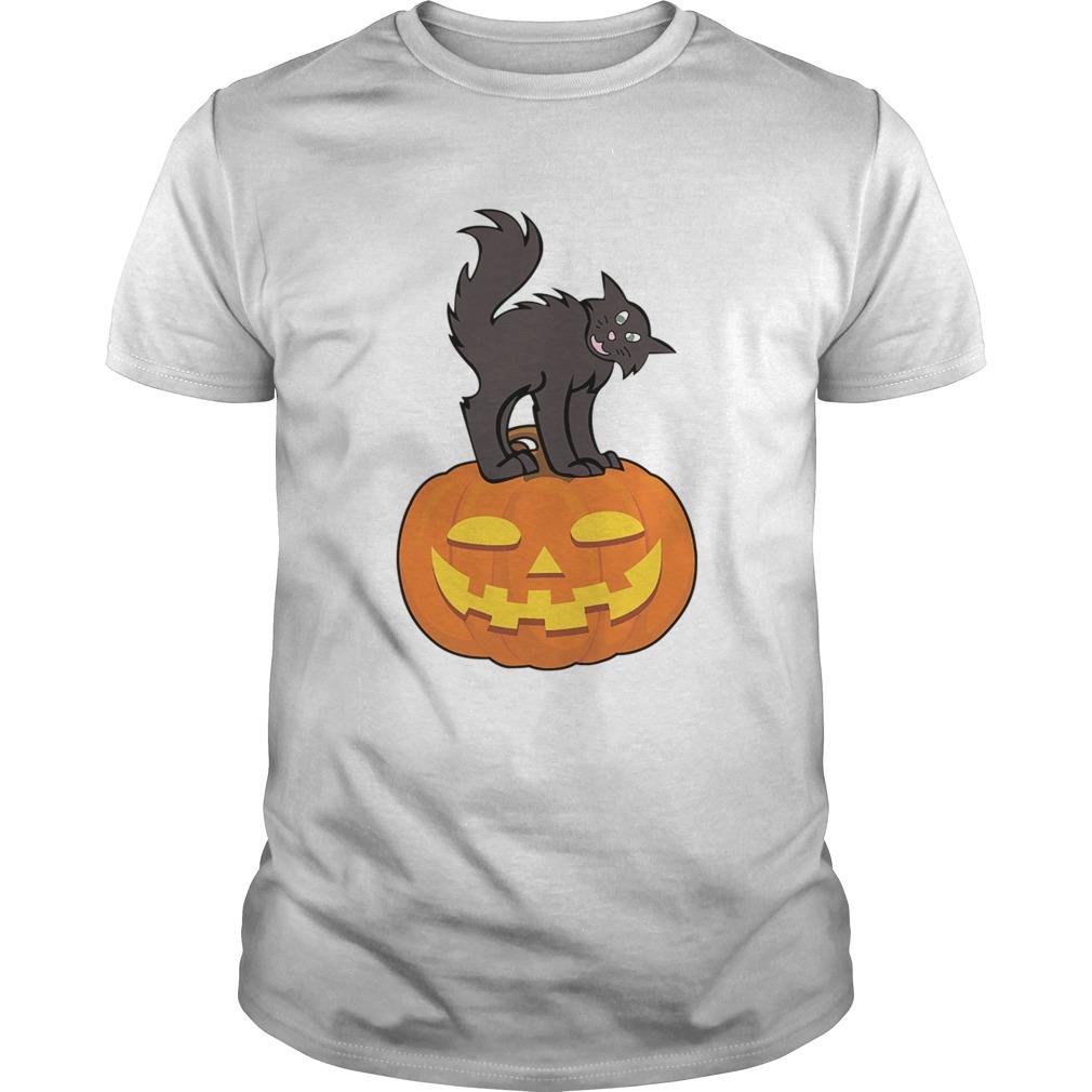 Black Cat On Pumpkin Funny Cat Lover shirt Classic Men's