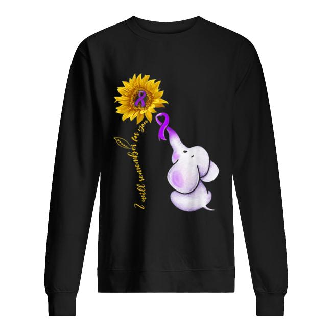 elephant i will remember for you sunflower alzheimers awareness  unisex sweatshirt
