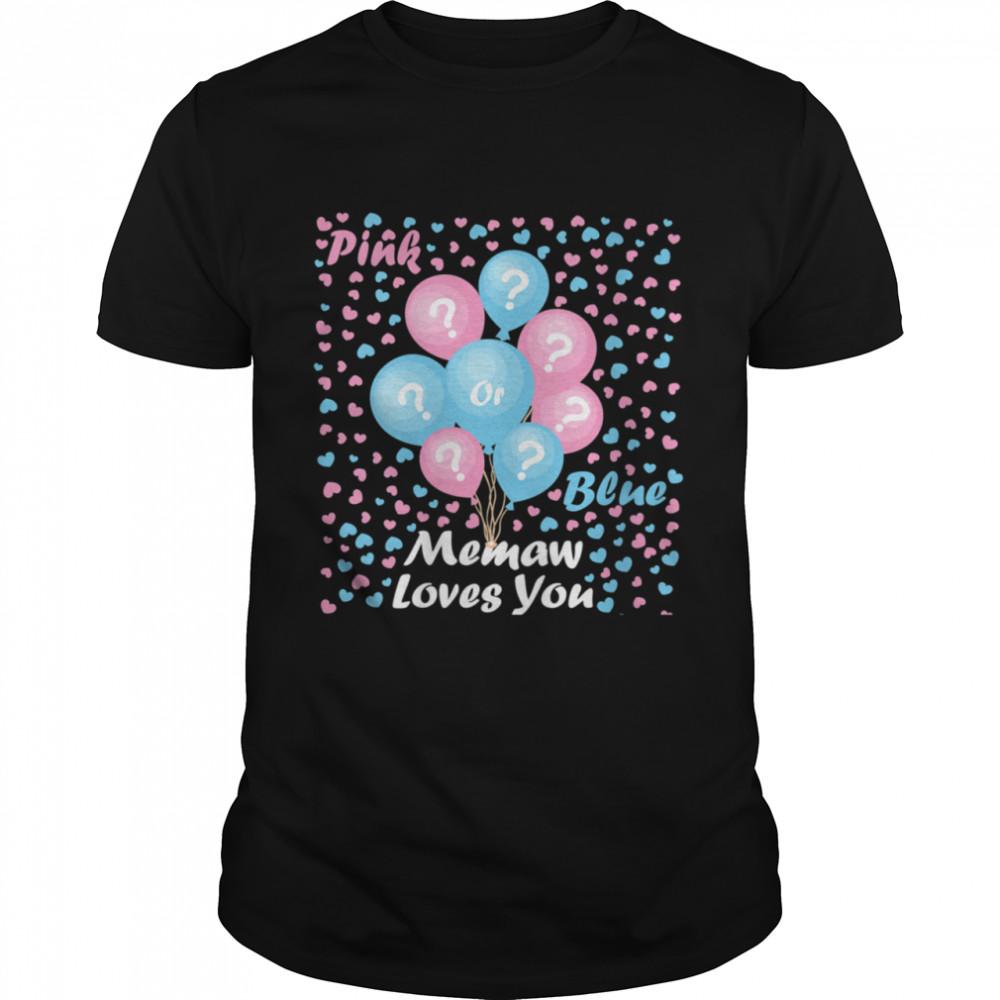 Gender Reveal Pink or blue mommy loves you Shirt