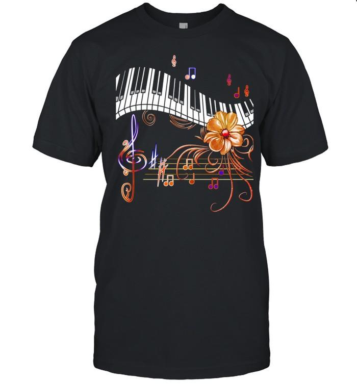 Piano Musically Keyboard Gold Flower Shirt