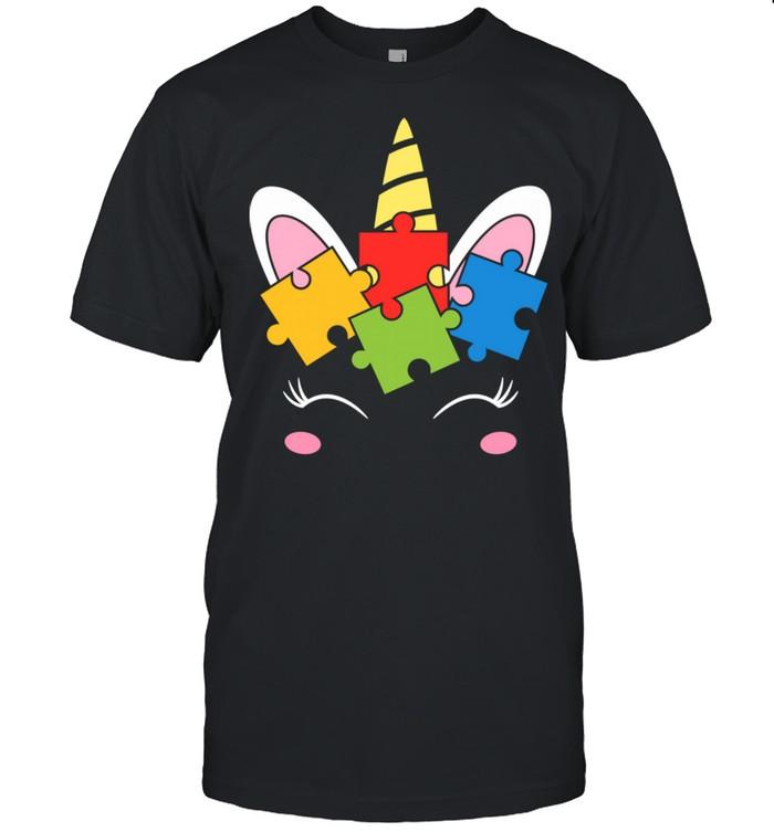 Unicorn Autism Awareness Puzzle Pieces Girls  Classic Men's T-shirt