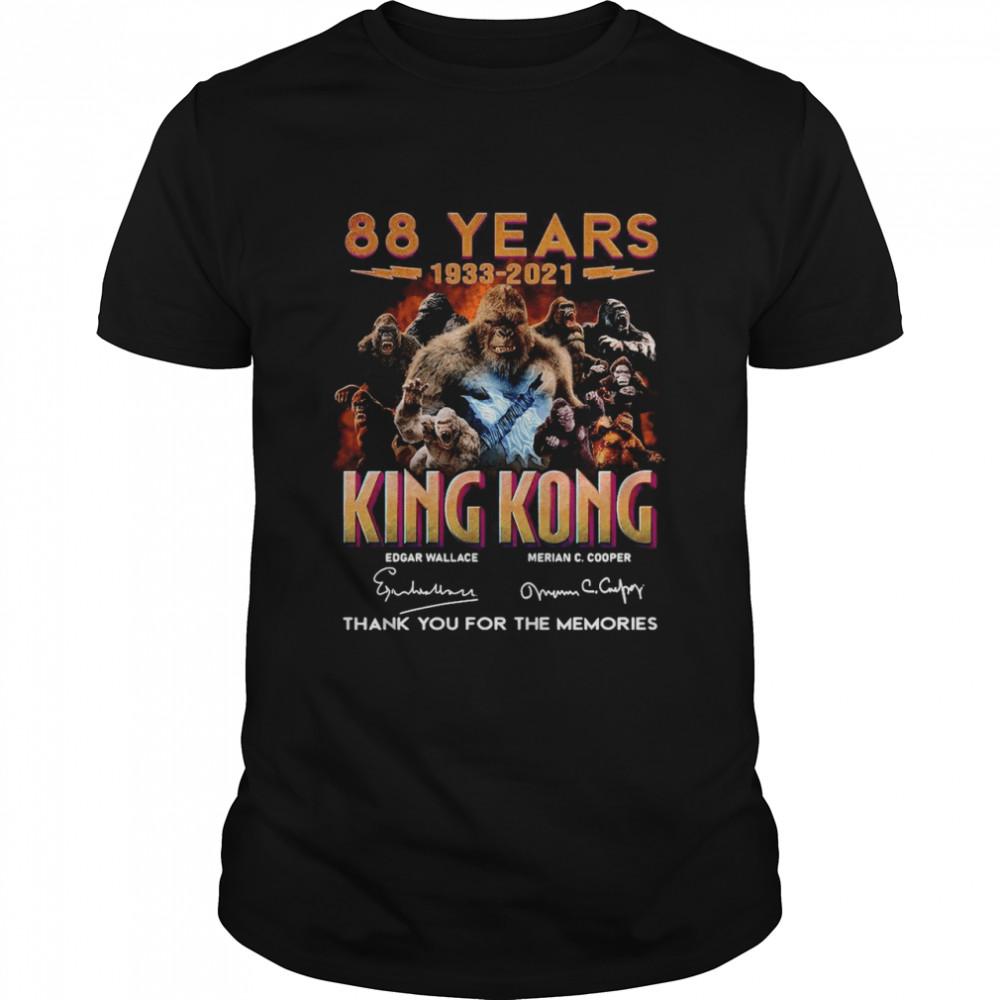 88 Years 1933 2021 King Kong Signatures Thank You shirt