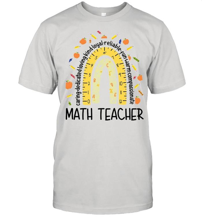 Math Teacher Caring Dedicated Rainbow Cute shirt Classic Men's T-shirt