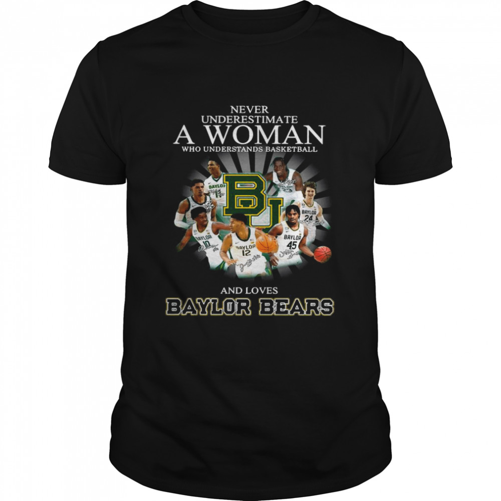 Never Underestimate A Woman Who Understands Basketball And Love Baylor Bears Teams Signatures shirt