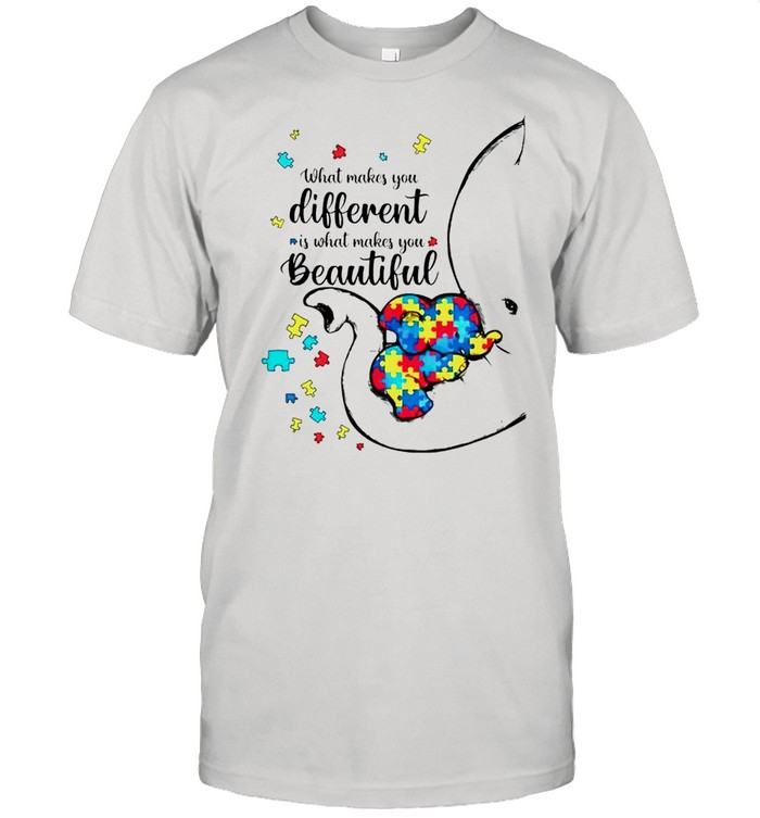 Autism elephant what makes you different is what makes you beautiful shirt