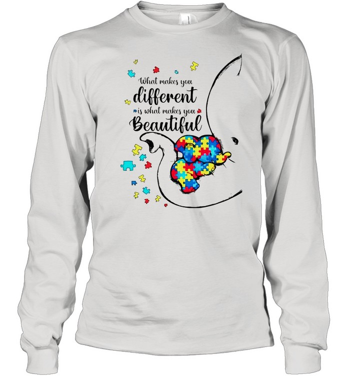 Autism elephant what makes you different is what makes you beautiful shirt Long Sleeved T-shirt