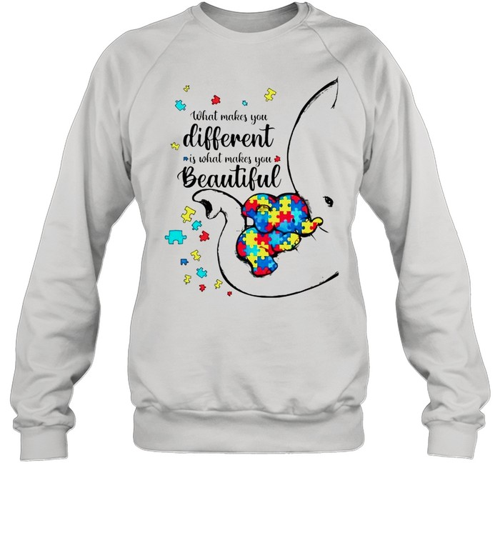 Autism elephant what makes you different is what makes you beautiful shirt Unisex Sweatshirt