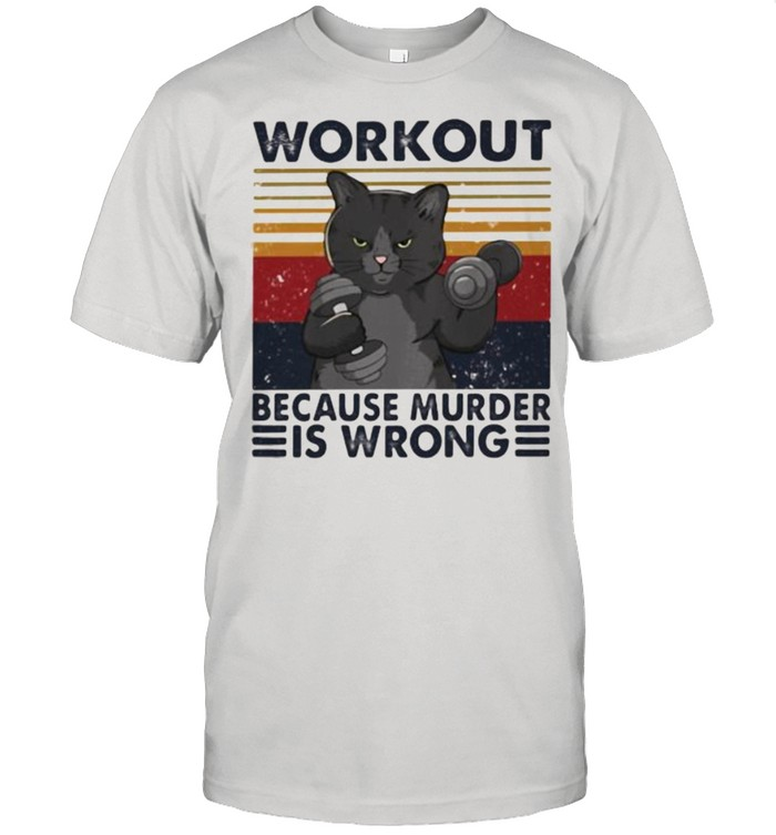 Workout Because murder Is Wrong Cat Vintage  Classic Men's T-shirt