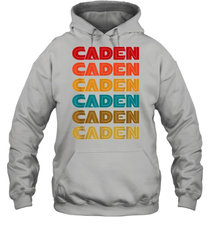 caden name retro given name colorful inline font  unisex hoodie