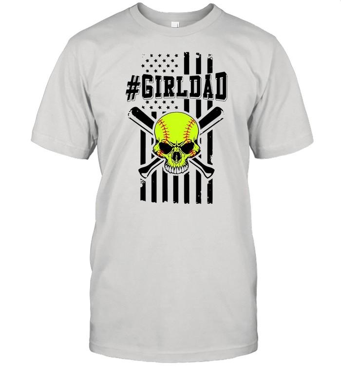 Skull softball girldad American flag shirt Classic Men's T-shirt