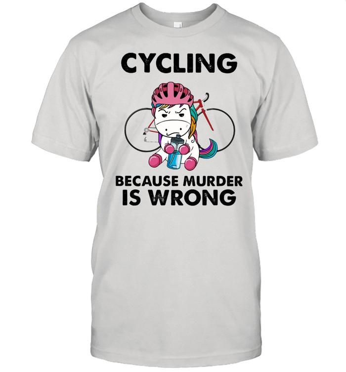Cycling Because Murder Is wrong Unicorn  Classic Men's T-shirt