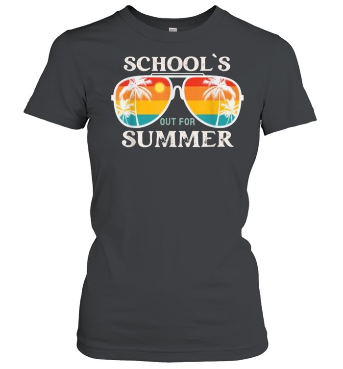 schools out for summer sunglasses vintage sun last day of school t  classic womens t shirt