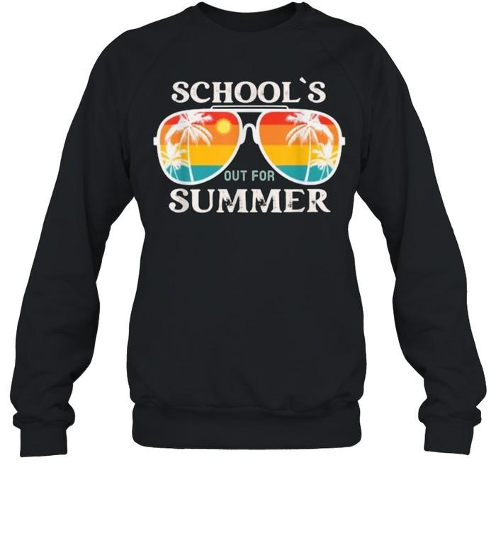 schools out for summer sunglasses vintage sun last day of school t  unisex sweatshirt