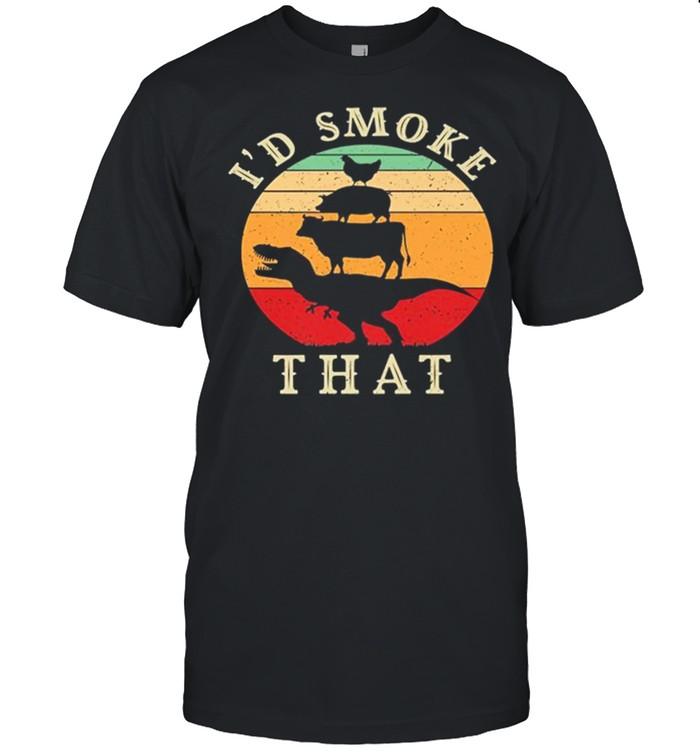 Retro Vintage Animal Chicken Pig Cow Id Smoke That shirt Classic Men's T-shirt