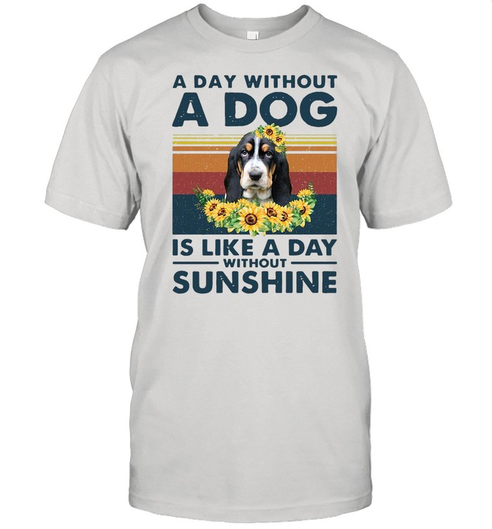 A Day Without A Dog Is Like A Day Without Sunshine Basset Hound Vintage  Classic Men's T-shirt