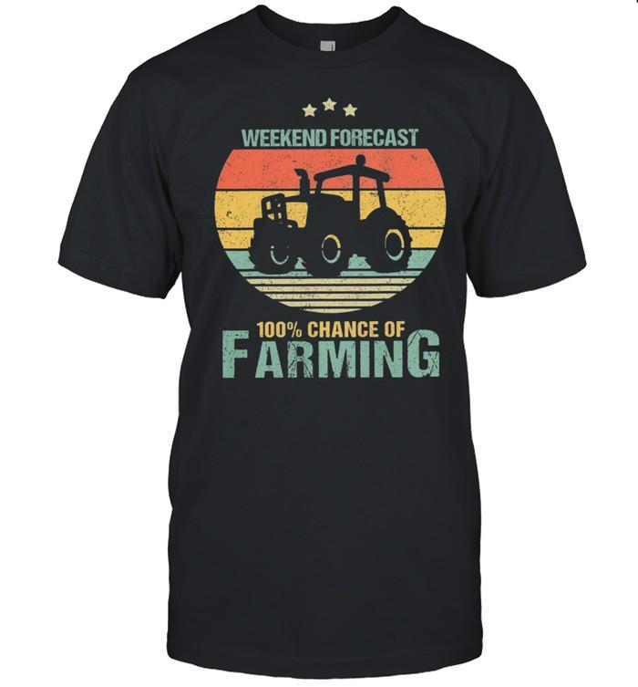 Weekend Forecast 100% Chance Of Farming Vintage Retro shirt Classic Men's T-shirt