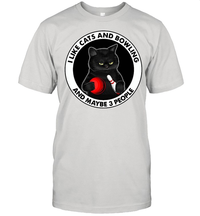 Black Cat I Like Cats And Bowling And Maybe 3 People T-shirt Classic Men's T-shirt