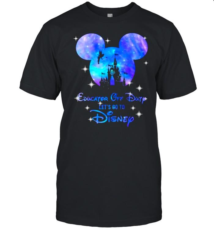 Education Off Duty Let's Go To Disney Mickey Castle Hologram  Classic Men's T-shirt