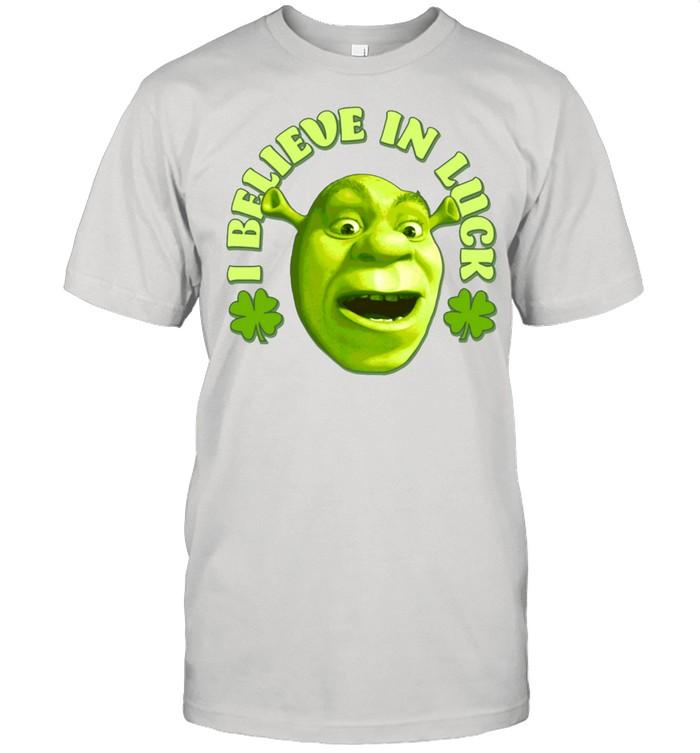 Shrek Big Face Saint Patrick's Day I Believe In Luck Langarmshirt shirt Classic Men's T-shirt