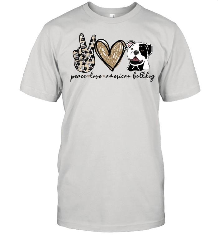Peace Love American Bulldog shirt Classic Men's T-shirt
