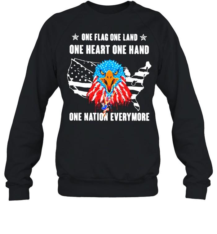 One Flag One Land One Heart One Hand One Nation Everymore Eagle American Flag  Unisex Sweatshirt