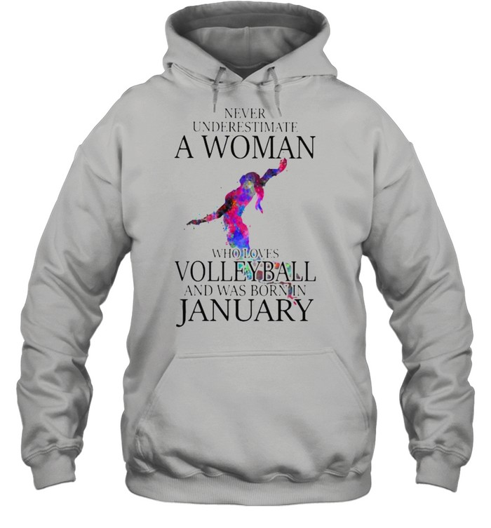 Never Underestimate A Woman Who Loves Volleyball And Was Born In January Watercolor  Unisex Hoodie