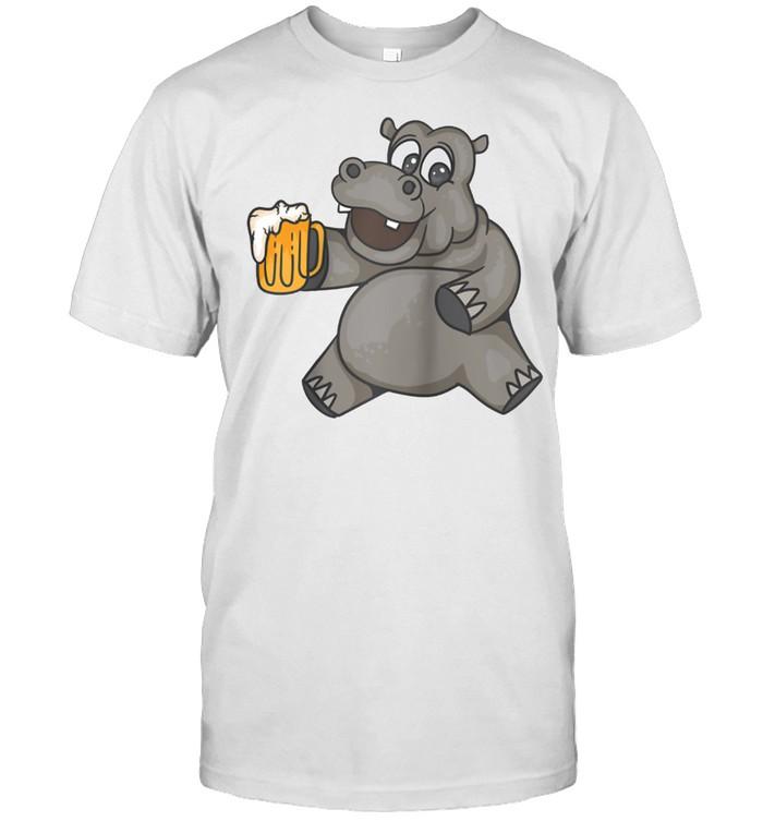 Hippo Drinking Beer Cool Fancy Beer Drinkers shirt Classic Men's T-shirt