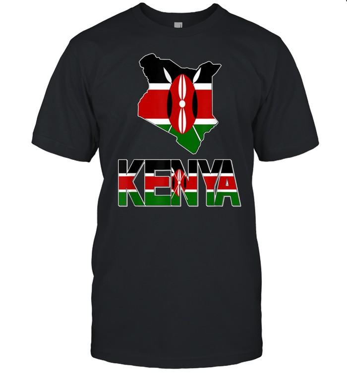 Kenya Map With Kenya Flag Love Kenya Kenyan Pride shirt Classic Men's T-shirt