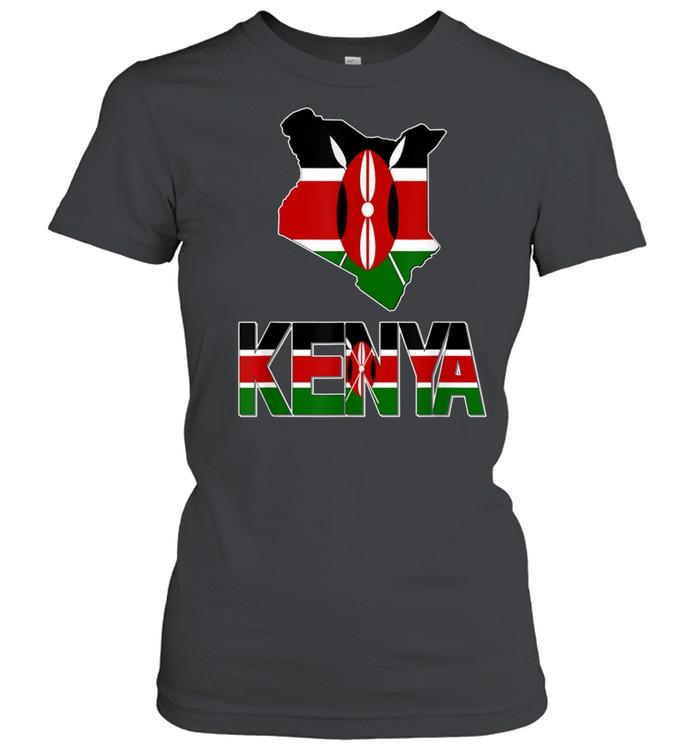 kenya map with kenya flag love kenya kenyan pride shirt classic womens t shirt