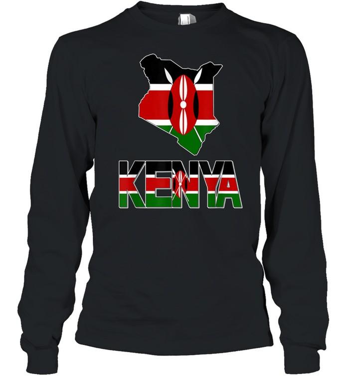 kenya map with kenya flag love kenya kenyan pride shirt long sleeved t shirt
