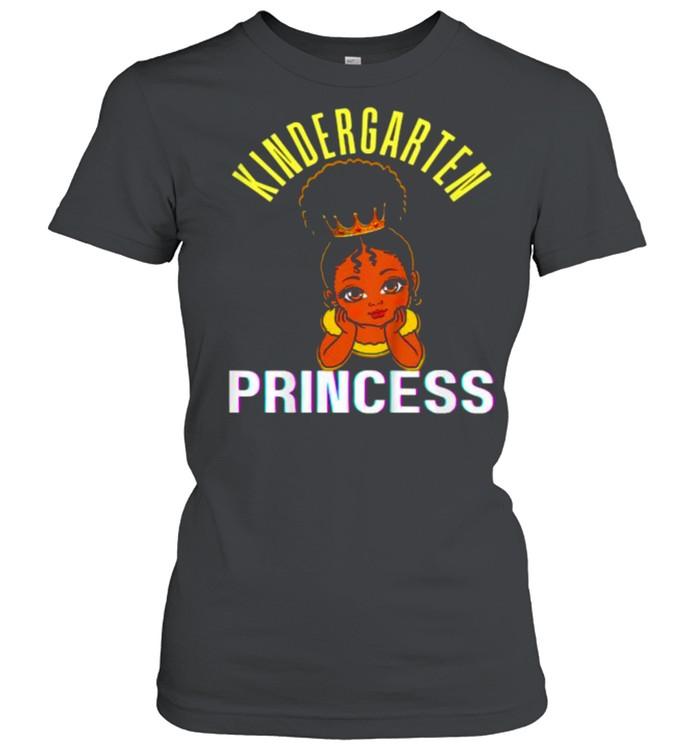 kids kindergarten princess black girl magic brown skin  classic womens t shirt