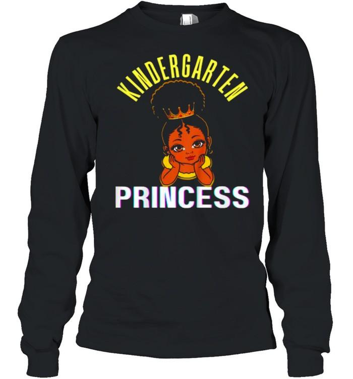 kids kindergarten princess black girl magic brown skin  long sleeved t shirt