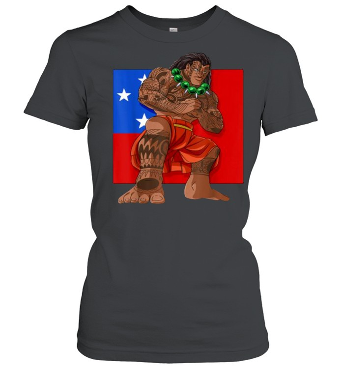 samoan pride polynesian haka dance samoa flag t  classic womens t shirt