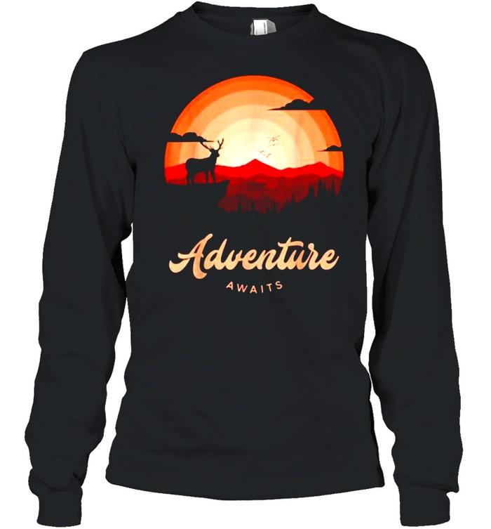 Adventure Awaits Vintage Sunset Mountain Deer Forest T- Long Sleeved T-shirt