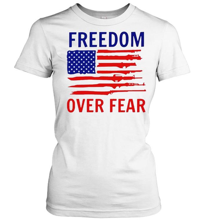 american flag guns freedom over fear shirt classic womens t shirt