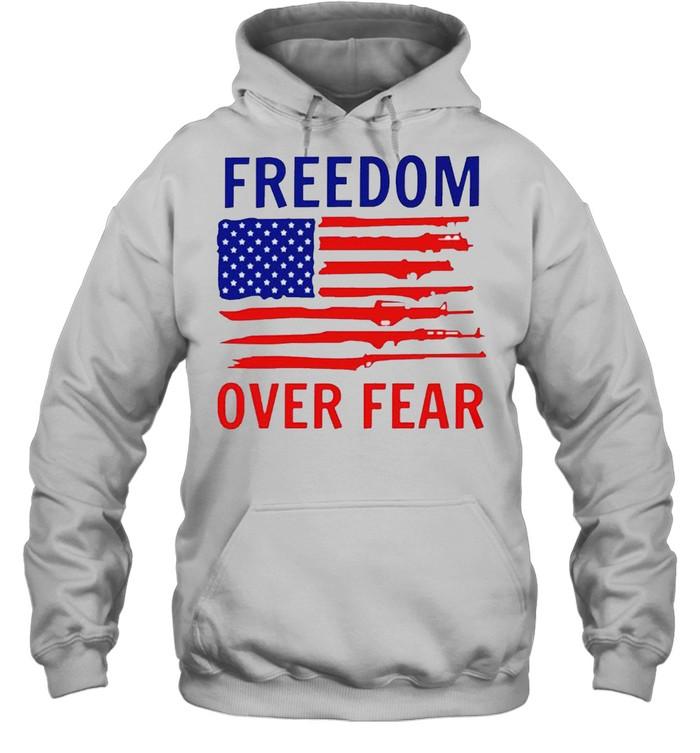 american flag guns freedom over fear shirt unisex hoodie