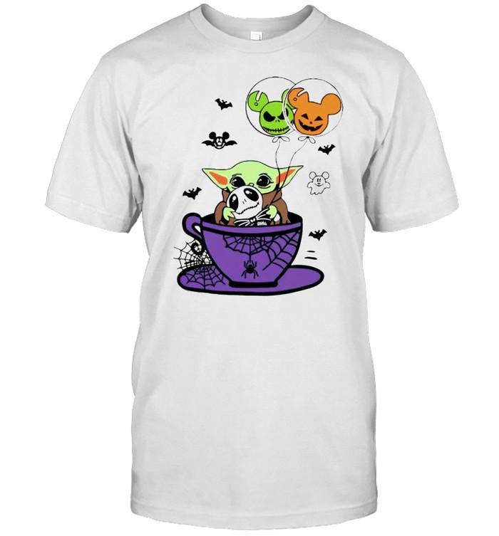 Baby Yoda hug Jack Skellington Halloween coffee shirt Classic Men's T-shirt